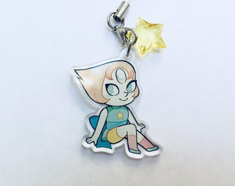 """1.5"""" Steven Universe Pearl Charm Clear Acrylic"""