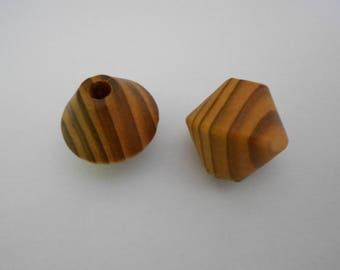 1 set of 2 beautiful wooden diamond shaped beads