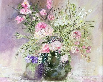 Original oil painting of impasto flowers