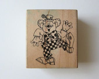 1pc CLOWN Wood Rubber Stamps, Pre-used