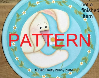 EPATTERN #0046 Daisy Bunny Plate, painting pattern, tole painting patterns, decorative painting, Spring pattern, bunny pattern, folkart