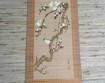 Vintage Chinese Woven Bamboo Painting Wall Hanging With Birds And Flowers Signed