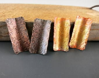 "Concave Hammered Rectangles, 1""x1/2"" Set of 2, Copper Pendants or Earring Components, Choice of Finish"