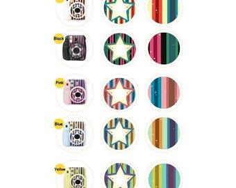 Camera Sticker Fujifilm Instax Mini 8 Camera Decal Star Stripe Accessories