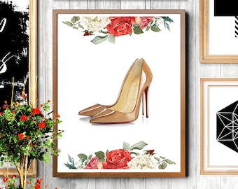 Christian Louboutin, Louboutin shoes print, Christian Louboutin heels, Fashion shoes print, Shoes art, Shoes print, Fashion illustration