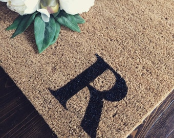 Doormat / Welcome Mat Personalized with single Custom initial Monogram -  made from natural coir