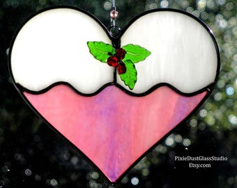 Stained Glass Christmas Cookie Suncatcher, Frosted Sugar Cookie with Holly Berries, Pink Heart Shaped Sun Catcher, Glass Christmas Ornament