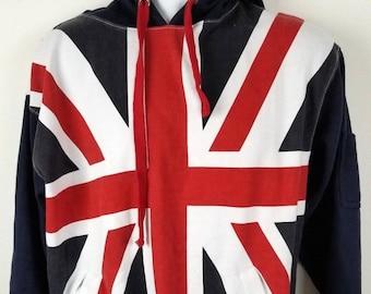 United Kingdom Flag Vintage Pocket British Flag Hoodie Soll 80s Retro Style