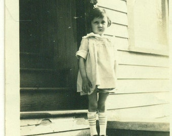 1929 Mary Little Girl Standing Outside Dress Mary Jane Shoes 20s Vintage Photograph Black White Photo