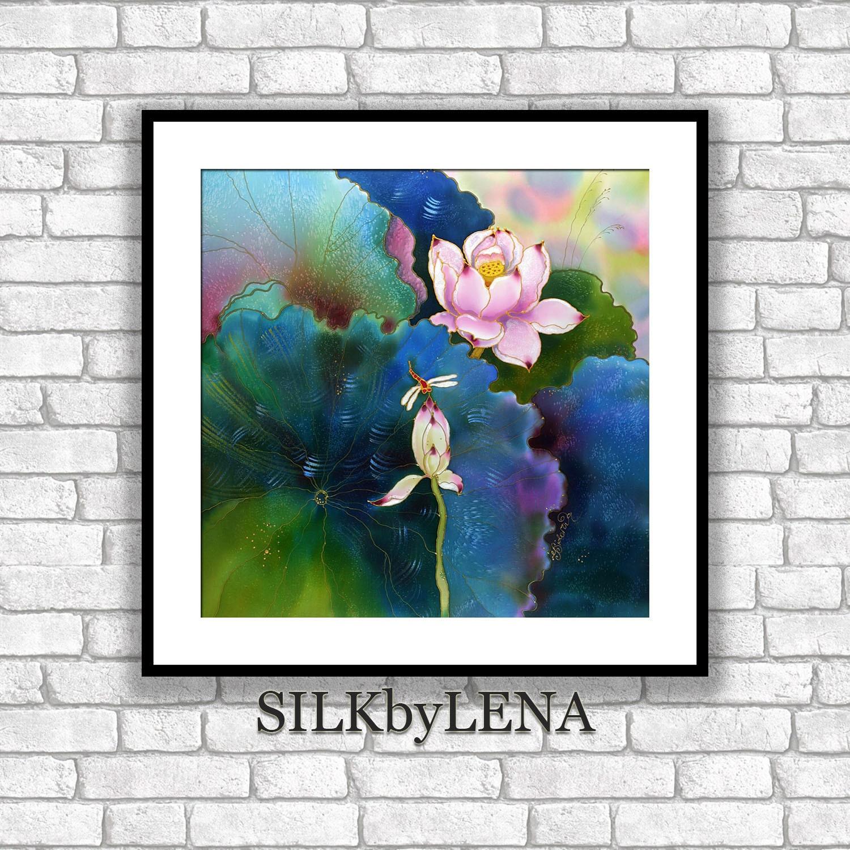 Giclee Art Print Koi Fish Painting Lotus Flower Art Wall Art