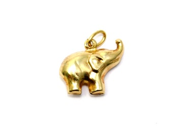 Vintage 14k gold small puffy elephant charm