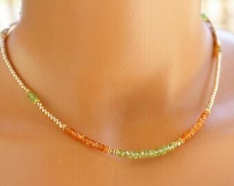 Garnet and Peridot Necklace, Multi Gemstone Necklace, Womens Beaded Necklace, Boho Chic Gemstone Necklace, Modern and contemporary Jewelry
