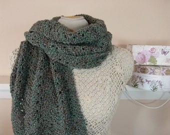 "Hand Knit Ripple Scarf or Shawl - Luxury Merino Scarf in Traditional Scottish Style - ""Jade River Sparkle"" - Item 1574"