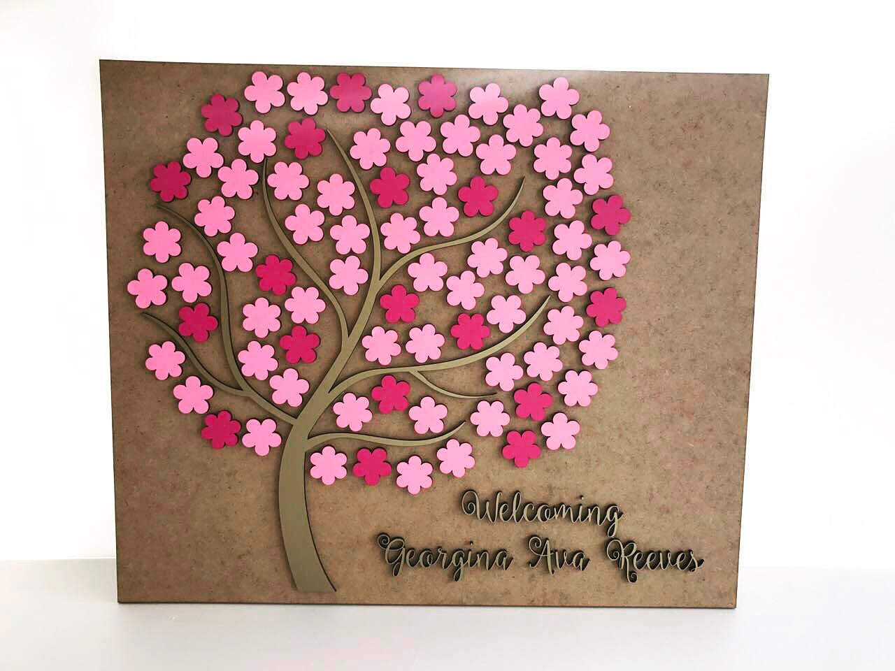 Personalized wedding rustic guest book 3D Wooden Custom