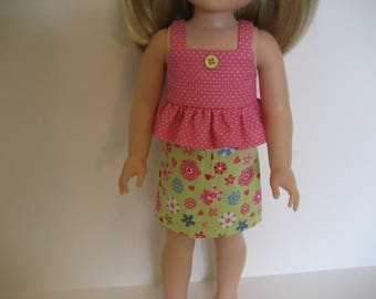 14.5 Inch Doll Clothes - Flower Print Skirt Outfit made to fit dolls such as the Wellie Wishers doll clothes