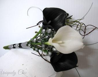 Bridesmaid bouquet, Black and White calla lily Jr Bridesmaids bouquet, Silver wedding bouquet