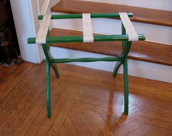 Vintage Scheibe Folding Luggage Rack Stand Bed & Breakfast Green