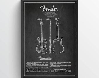 1959 Fender Electric Guitar Patent Wall Art Poster, Guitar Print, Guitar Decor, Home Decor, Gift Idea, MUIN21P