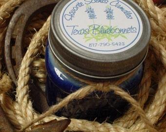 Fields of Bluebonnets (Texas Bluebonnet scent) - 8 oz Western Texas Cowboy Mason Jar Candle