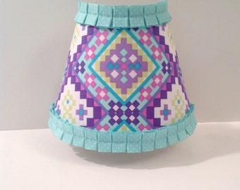 Lavender and Aqua Aztec Night Light (READY TO SHIP), tribal, lilac, teal, geometric, baby nursery
