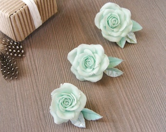 Mint wedding hair accessory Mint green wedding hair pins Mint flowers hair piece Mint hair clip Mint silver hair pin Mint rose hair clip