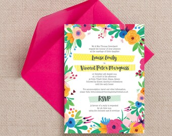 Personalised Bright Floral Fiesta Wedding Invitation & RSVP with envelopes
