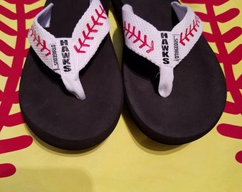 "Baseball - Personalized flip flops - White webbing - Players name/number ""I love/heart number"""