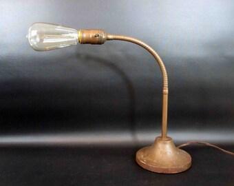 Vintage 1930's Art Deco Gooseneck Desk Lamp with Cast Iron Base