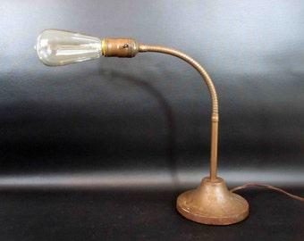 Vintage 1930u0027s Art Deco Gooseneck Desk Lamp With Cast Iron Base