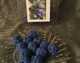 Crochet Blueberries Play Food with container