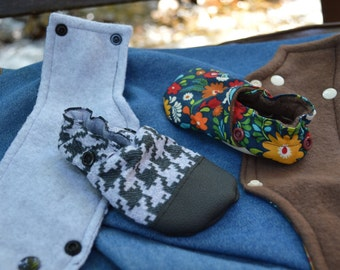 Removable Cuff Add On Crib shoes Stay on Baby shoes Moccs