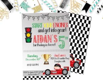 Race Car Birthday Invitation, Boys Birthday Invitation, Racing Birthday Invitation, 3rd, 4th, 5th Birthday Invitation