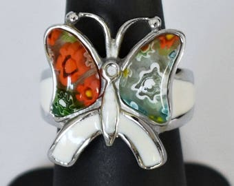 Vintage Millefiori glass enamel stainless steel funky butterfly ring, hip abstract asymmetrical blown glass winged insect size 6.5 statement