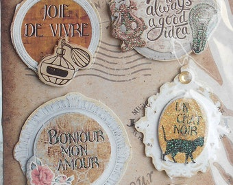 Plate 9 stickers 3D card making, scrapbooking, new vintage