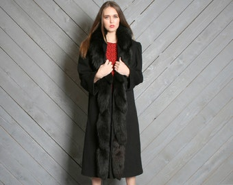 1980s WINTER COAT / Black Wool with Huge Real Fox Tails, s-m