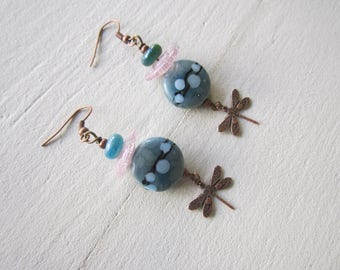 Lampwork glass Lampwork, turquoise and copper beads earrings