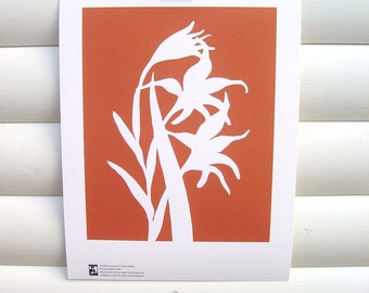SECONDS: Art Print 10x8 - Orange Gladiolus - Modern Botanical Floral Pretty Papercut Design