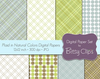 Plaid in Natural Colors Digital Paper Set Commercial Use Clip Art INSTANT DOWNLOAD Polka Dot Stripe Scrapbook Paper Nature Colors
