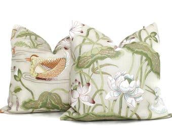 Document Lotus Garden Decorative Pillow Cover 18x18, 20x20, 22x22, 24x24, Eurosham or Lumbar Pillow, Lily pad pillow, throw pillow