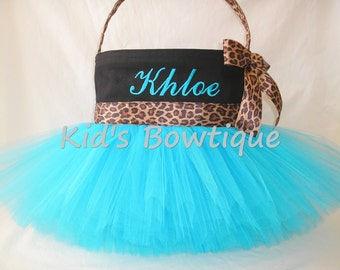 Easter Basket Tutu Bag- Personalized Leopard Cheetah Ribbon Easter Basket Tutu Tote