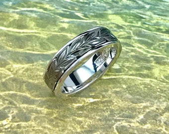 Sterling Silver Hawaiian Black Rhodium Two Toned Maile 6mm Ring Band (R560)