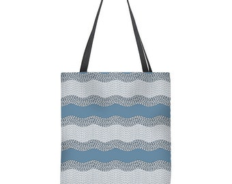 Striped tote bag with wavy stripes, gray and blue tote bag, geometric tote bag, mom gift, gift for mom