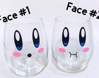 Kirby stemless wine glasses with Kirby faces nintendo themed wine glasses video game gifts geeky gifts gifts for nerds set of glasses