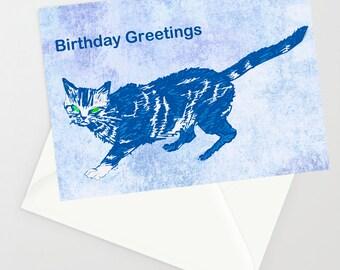 Cat custom card, Handmade greetings card, personalised card, Handmade birthday card, congratulations card, funny greeting card, cat card