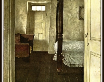 "Four Poster from Andrew Wyeth, Andrew Wyeth print, American Artist, Wyeth Art, Wyeth Art, New England Painting, approx 13"" X 17"" tall."