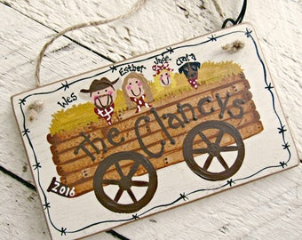 Rustic Family Ornament, Personalized Christmas Ornament, Country Western Ornament, Cowboy Christmas, Hand Painted Wood Ornament