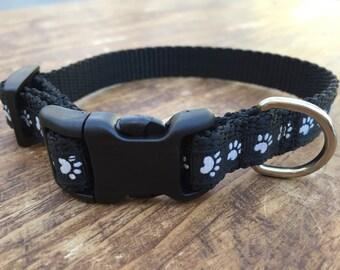 XS Dog Collar, dog paws, dog collar for boy, dog collar for girl, cute dog collar, fun dog collar, black dog collar, sublimebirdy