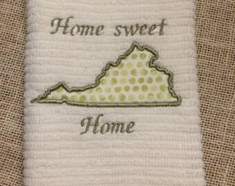 Home Sweet Home Virginia Towel,kitchen towel, Virginia, teacher gift, house warming gift