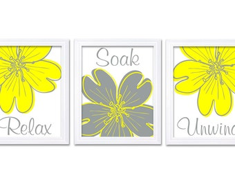 Bathroom Wall Art Relax Soak Unwind Bright Yellow Grey Bathroom Wall Art Modern Bathroom Decor Set of 3 Flower Bath Art Prints
