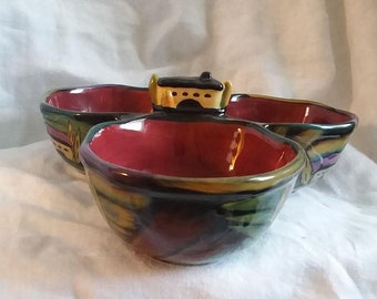 Clay Art 3 Part Serving Bowl SW Design Condiment Bowl, Dip Bowl Hand Painted Hallmarked